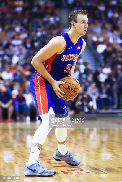 Luke Kennard of the Detroit Pistons dribbles the ball during the first half of an NBA preseason game against the Toronto Raptors at Air Canada Centre...
