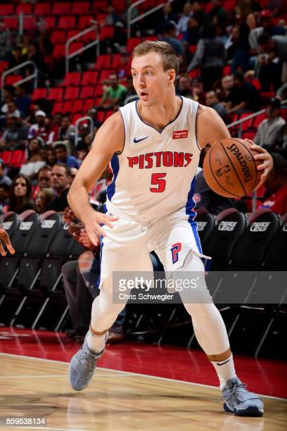 Luke Kennard of the Detroit Pistons handles the ball against the Indiana Pacers on October 9 2017 at Little Caesars Arena in Detroit Michigan NOTE TO...
