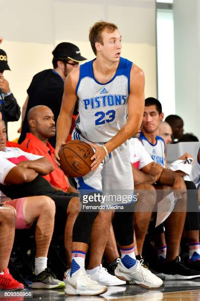 Luke Kennard of the Detroit Pistons inbounds the ball during the game against the Charlotte Hornets during the 2017 Orlando Summer League on July 5...