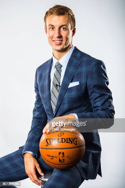 Luke Kennard of the Detroit Pistons is introduced to the team during a portrait shoot on June 23 2017 at the Palace of Auburn Hills in Auburn Hills...