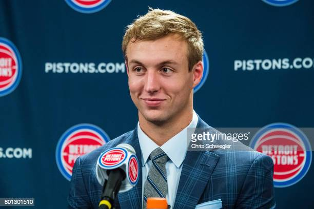 Luke Kennard of the Detroit Pistons is introduced to the team during a press conference on June 23 2017 at the Palace of Auburn Hills in Auburn Hills...