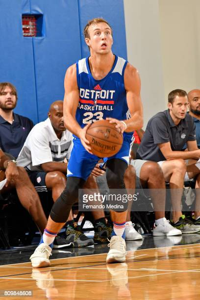 Luke Kennard of the Detroit Pistons looks to shoot the ball against the Dallas Mavericks during the Mountain Dew Orlando Pro Summer League...
