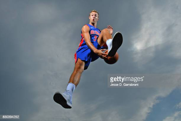 Luke Kennard of the Detroit Pistons poses for a portrait during the 2017 NBA rookie photo shoot on August 11 2017 at the Madison Square Garden...