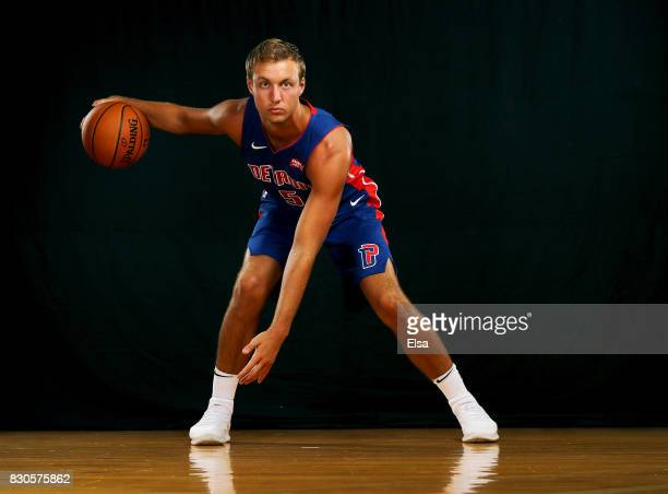 Luke Kennard of the Detroit Pistons poses for a portrait during the 2017 NBA Rookie Photo Shoot at MSG Training Center on August 11 2017 in...