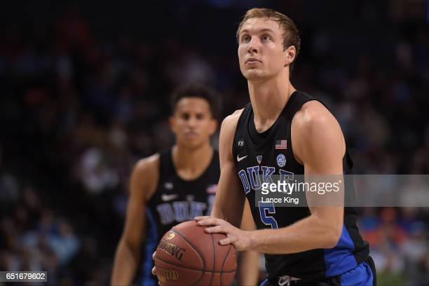 Luke Kennard of the Duke Blue Devils concentrates at the freethrow line against the Louisville Cardinals during the quarterfinals of the ACC...