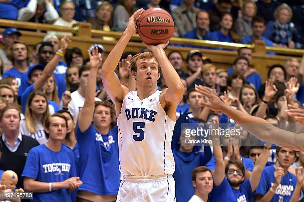 Luke Kennard of the Duke Blue Devils puts up a shot against the Bryant Bulldogs at Cameron Indoor Stadium on November 14 2015 in Durham North...