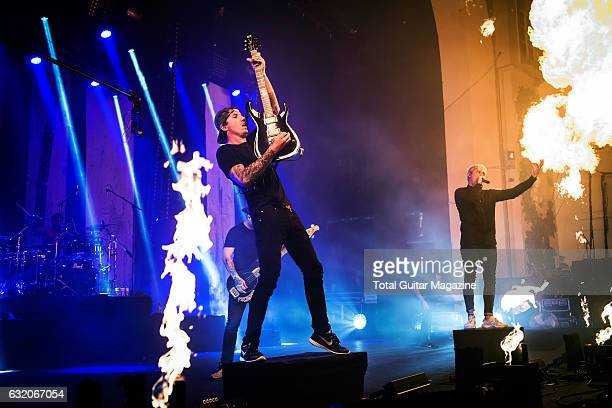 Luke Kilpatrick and Winston McCall of Australian metalcore group Parkway Drive performing live on stage at the O2 Academy Brixton in London on...
