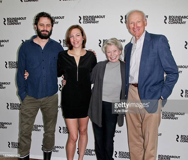 Luke Kirby Rebecca Henderson Phyllis Somerville and James Rebhorn attend the 'Too Much Too Much Too Many' cast photo call on October 10 2013 in New...