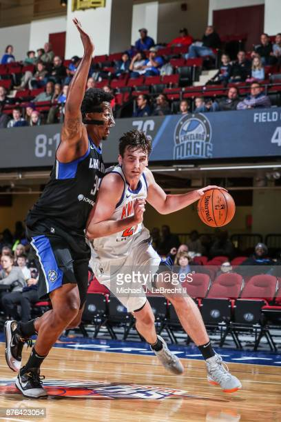 Luke Kornet of the Westchester Knicks Drives to the basket against the Lakeland Magic during an NBA GLeague game on November 19 2017 at Westchester...