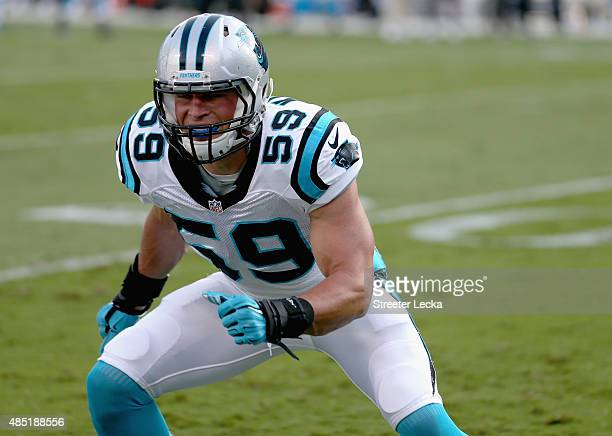 Luke Kuechly of the Carolina Panthers during their game at Bank of America Stadium on August 22 2015 in Charlotte North Carolina
