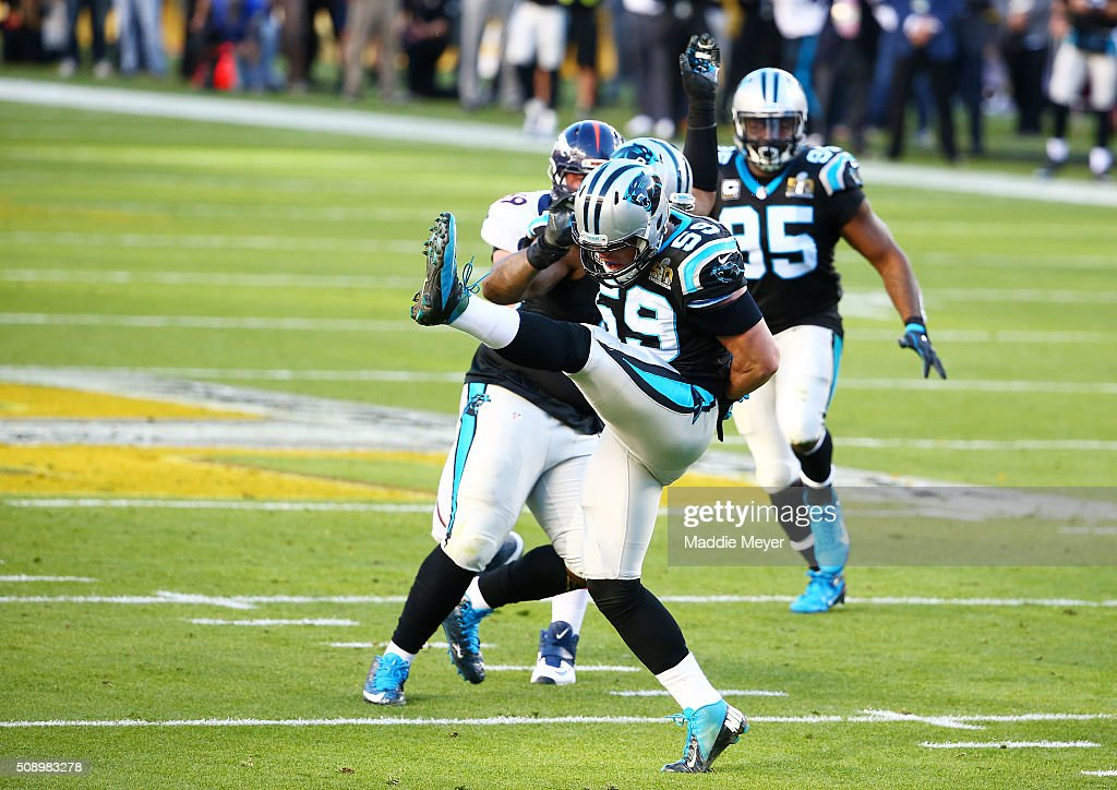 <a gi-track='captionPersonalityLinkClicked' href=/galleries/search?phrase=Luke+Kuechly&family=editorial&specificpeople=6234948 ng-click='$event.stopPropagation()'>Luke Kuechly</a> #59 of the Carolina Panthers reacts after a play against the Denver Broncos in the first quarter during Super Bowl 50 at Levi's Stadium on February 7, 2016 in Santa Clara, California.
