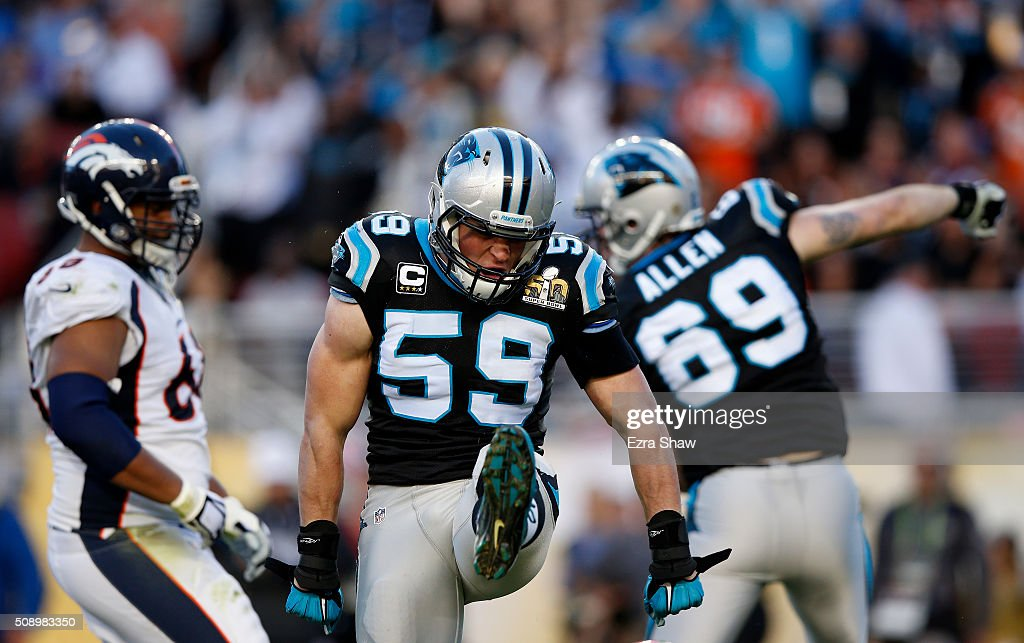 Luke Kuechly #59 of the Carolina Panthers reacts after a play against the Denver Broncos in the first quarter during Super Bowl 50 at Levi's Stadium on February 7, 2016 in Santa Clara, California.