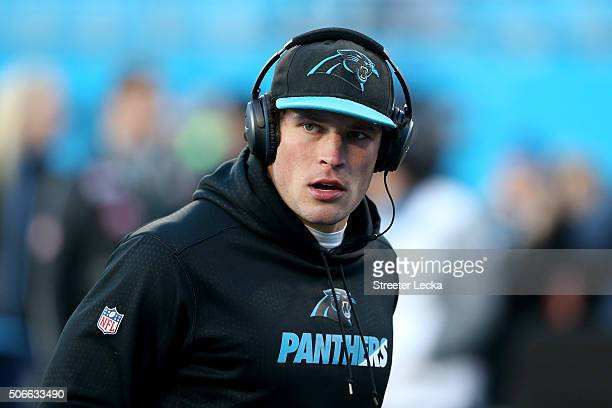 Luke Kuechly of the Carolina Panthers warms up prior to the NFC Championship Game against the Arizona Cardinals at Bank of America Stadium on January...