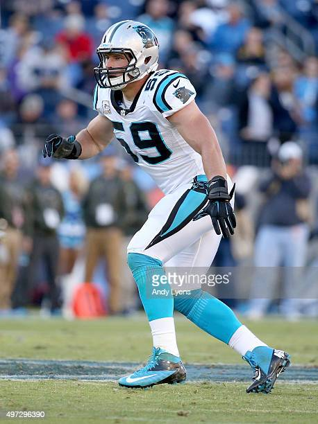Luke Kuechly of the Carolina Panthers watches the play during the second half against the Tennessee Titans at LP Field on November 15 2015 in...
