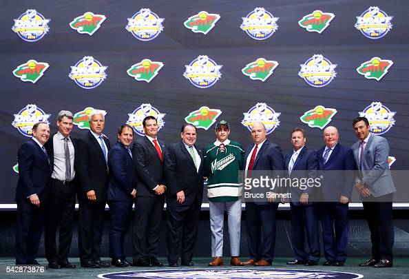 Luke Kunin celebrates with the Minnesota Wild after being selected 15th overall during round one of the 2016 NHL Draft on June 24 2016 in Buffalo New...