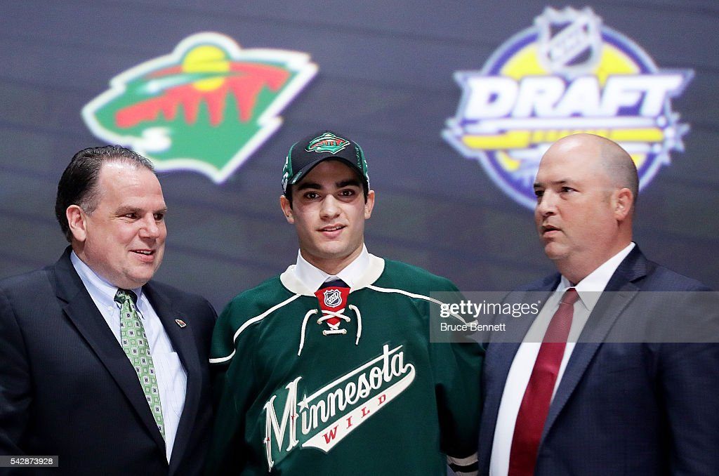 Luke Kunin celebrates with the Minnesota Wild after being selected 15th overall during round one of the 2016 NHL Draft on June 24, 2016 in Buffalo, New York.