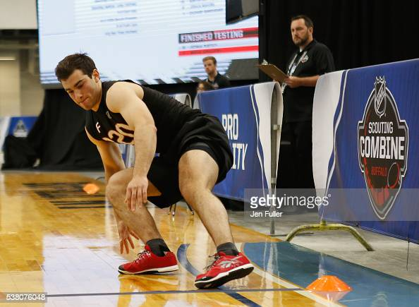 Luke Kunin does the Pro Agility test during the NHL Combine at HarborCenter on June 4 2016 in Buffalo New York