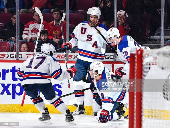 Luke Kunin of Team United States celebrates his goal with teammates during the 2017 IIHF World Junior Championship semifinal game against Team Russia...