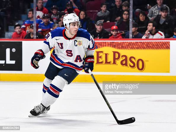 Luke Kunin of Team United States skates during the 2017 IIHF World Junior Championship semifinal game against Team Russia at the Bell Centre on...
