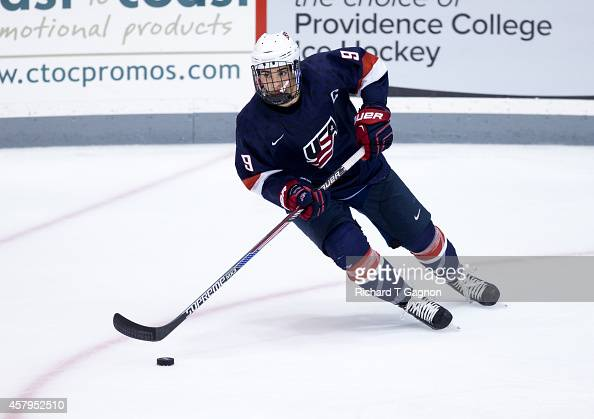 Luke Kunin of the US National Under18 Team skates during exhibition NCAA hockey against the Providence College Friars at Schneider Arena on October...