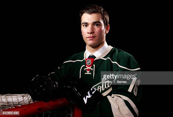 Luke Kunin poses for a portrait after being selected 15th overall by the Minnesota Wild in round one during the 2016 NHL Draft on June 24 2016 in...