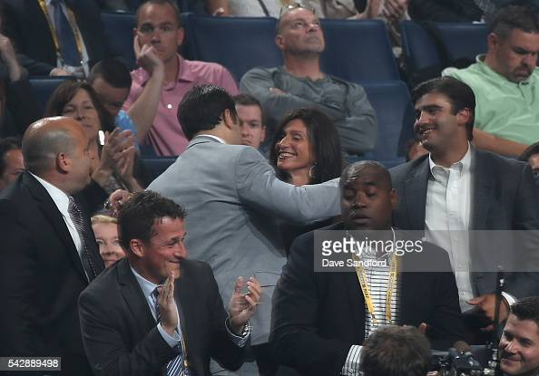 Luke Kunin reacts in the stands after being selected 15th overall by the Minnesota Wild during round one of the 2016 NHL Draft at First Niagara...