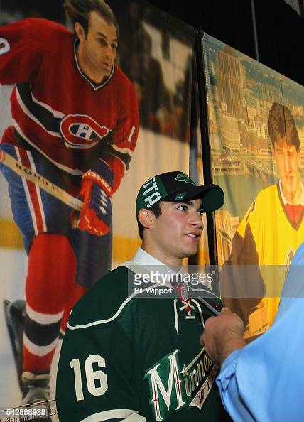 Luke Kunin selected 15th overall by the Minnesota Wild is interviewed during round one of the 2016 NHL Draft at First Niagara Center on June 24 2016...