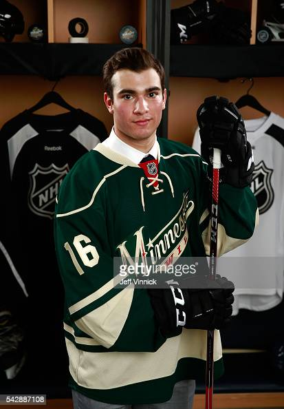 Luke Kunin selected 15th overall by the Minnesota Wild poses for a portrait during round one of the 2016 NHL Draft at First Niagara Center on June 24...