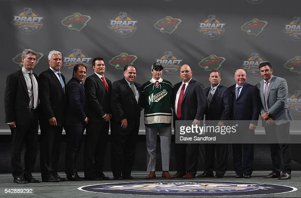 Luke Kunin selected 15th overall by the Minnesota Wild poses onstage during round one of the 2016 NHL Draft at First Niagara Center on June 24 2016...