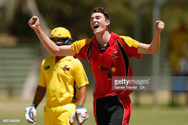 Luke Lavender of South Australia celebrates a wicket against Western Australia during the 20415 Imparja Cup on February 10 2015 in Alice Springs...