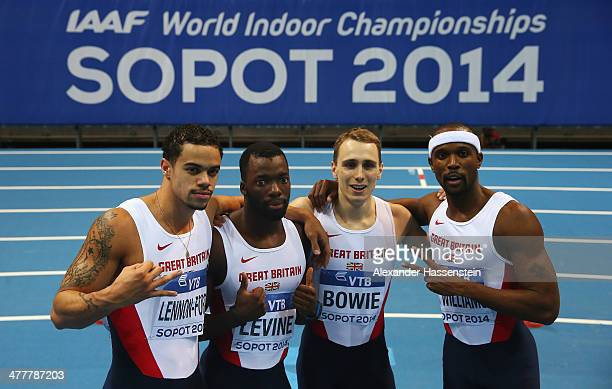 Luke LennonFord Nigel Levine Jamie Bowie and Conrad Williams of Great Britain celebrate winning the silver medal in the Men's 4x400m relay final...