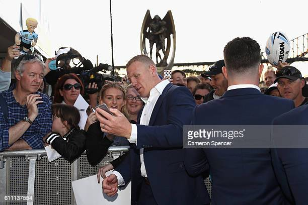 Luke Lewis of the CronullaSutherland Sharks poses for photographs during the NRL Grand Final Fan Day at Sydney Opera House on September 29 2016 in...