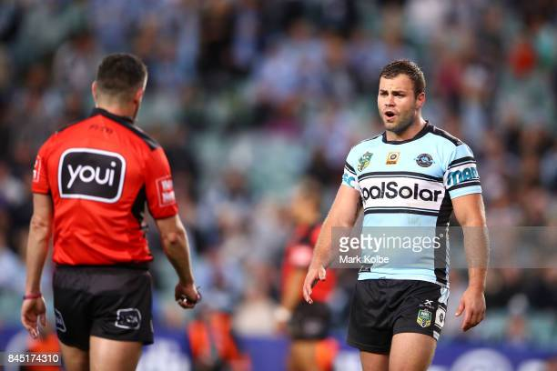 Luke Lewis of the Sharks shows his frustration to referee Gavin Badger during the NRL Elimination Final match between the Cronulla Sharks and the...