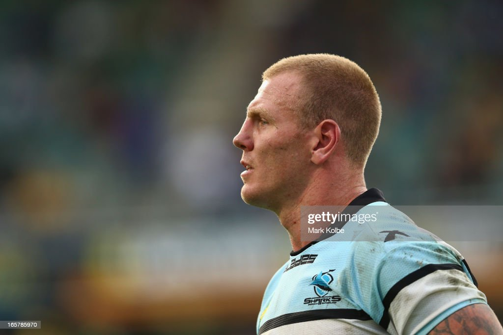 <a gi-track='captionPersonalityLinkClicked' href=/galleries/search?phrase=Luke+Lewis&family=editorial&specificpeople=243041 ng-click='$event.stopPropagation()'>Luke Lewis</a> of the Sharks watches on during the round five NRL match between the Parramatta Eels and the Cronulla Sharks at Parramatta Stadium on April 6, 2013 in Sydney, Australia.