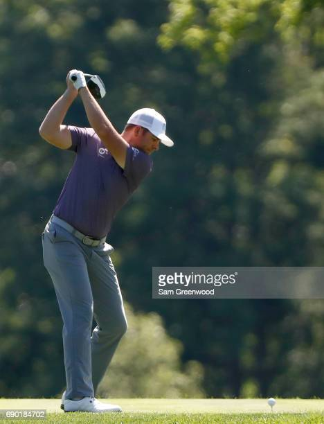 Luke List hits a shot during a practice round prior to The Memorial Tournament Presented By Nationwide at Muirfield Village Golf Club on May 30 2017...