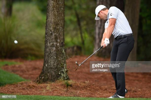 Luke List plays his second shot from the rough on the second hole during the final round of the Shell Houston Open at the Golf Club of Houston on...