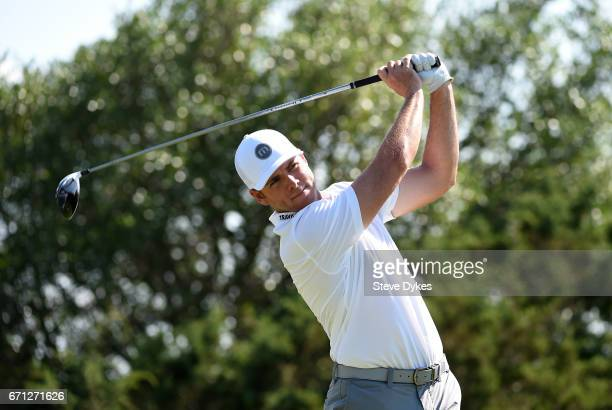 Luke List plays his shot from the 15th tee during the second round of the Valero Texas Open at TPC San Antonio ATT Oaks Course on April 21 2017 in...