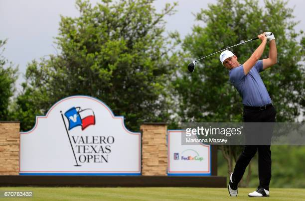 Luke List plays his shot from the 18th tee during the first round of the Valero Texas Open at TPC San Antonio ATT Oaks Course on April 20 2017 in San...