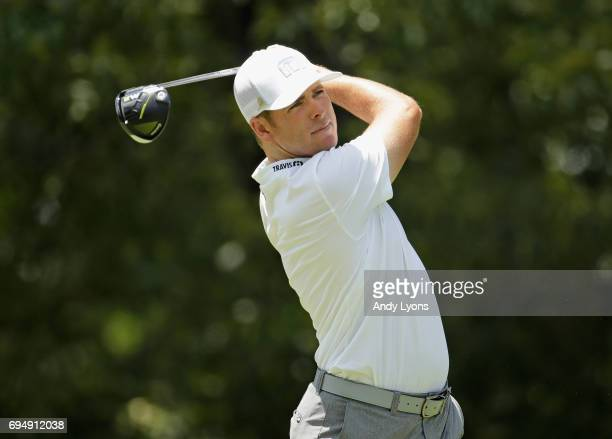 Luke List plays his shot from the seventh tee during the final round of the FedEX St Jude Classic at the TPC Southwind on June 11 2017 in Memphis...