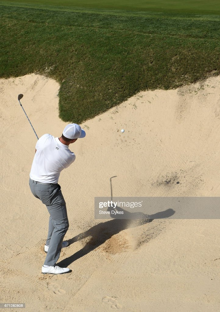 Luke List plays his shot out of the bunker on the 15th hole during the second round of the Valero Texas Open at TPC San Antonio AT&T Oaks Course on April 21, 2017 in San Antonio, Texas.