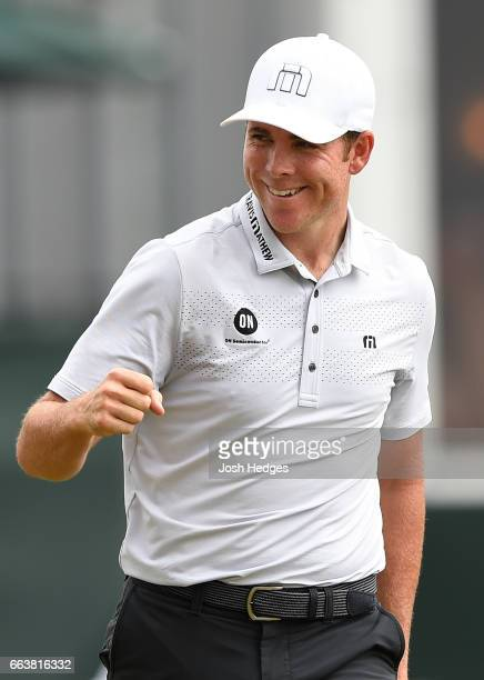 Luke List reacts after a putt on the 18th green during the final round of the Shell Houston Open at the Golf Club of Houston on April 2 2017 in...