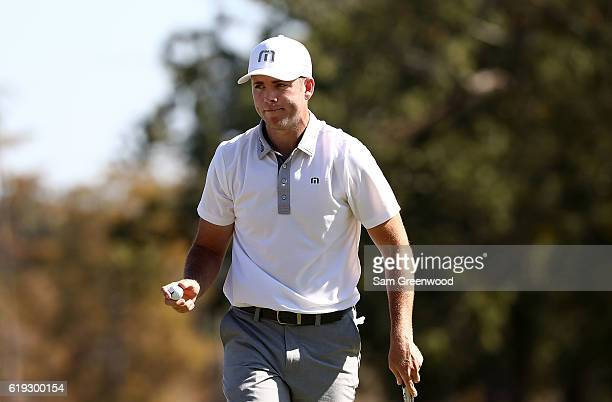 Luke List reacts to his putt on the 12th hole during the Final Round of the Sanderson Farms Championship at the Country Club of Jackson on October 30...