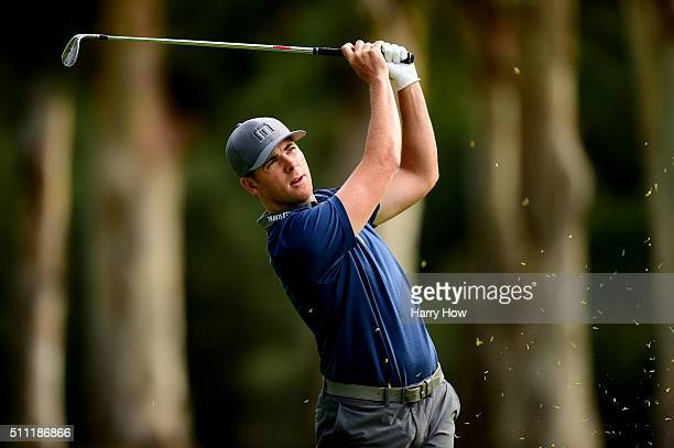 Luke List takes his second shot on the 13th hole during round one of the Northern Trust Open at Riviera Country Club on February 18 2016 in Pacific...