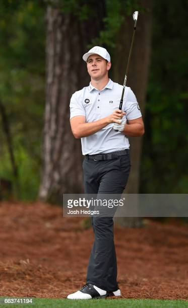 Luke List watches his second shot from the rough on the second hole during the final round of the Shell Houston Open at the Golf Club of Houston on...