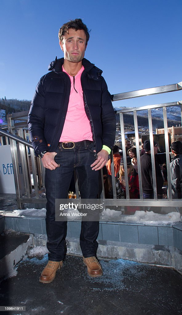 Luke Long, Financial Reasearcher from Los Angeles, wearing a Montclair jacket, American Apparel shirt, J Brand jeans, and Ugg boots on January 20, 2013 on the streets of Park City, Utah.