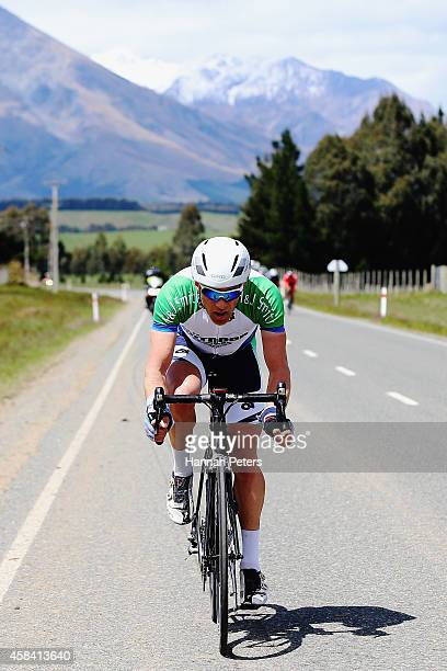 Luke Macpherson of Invercargill rides into Te Anau during stage 3 the Tour of Southland on November 5 2014 in Invercargill New Zealand