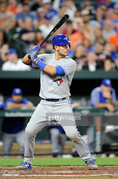 Luke Maile of the Toronto Blue Jays bats against the Baltimore Orioles at Oriole Park at Camden Yards on May 19 2017 in Baltimore Maryland