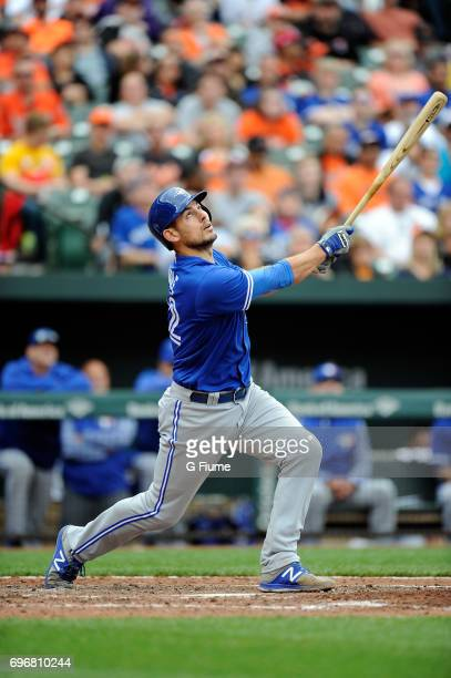 Luke Maile of the Toronto Blue Jays bats against the Baltimore Orioles at Oriole Park at Camden Yards on May 21 2017 in Baltimore Maryland