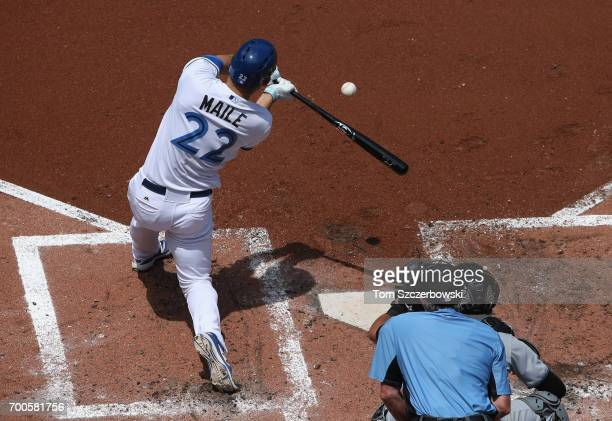 Luke Maile of the Toronto Blue Jays bats in the second inning during MLB game action against the Chicago White Sox at Rogers Centre on June 17 2017...