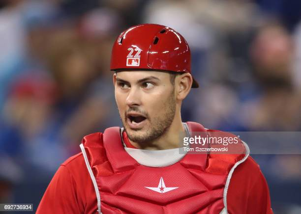 Luke Maile of the Toronto Blue Jays during MLB game action against the New York Yankees at Rogers Centre on June 4 2017 in Toronto Canada